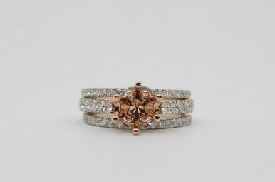 14kw/r 1.25ctw Semi Mount 3 Ring Wedding Set with Round Brilliant Diamonds