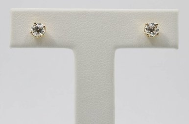 14ky 3/8ctw Round Brilliant Diamond Stud Earrings