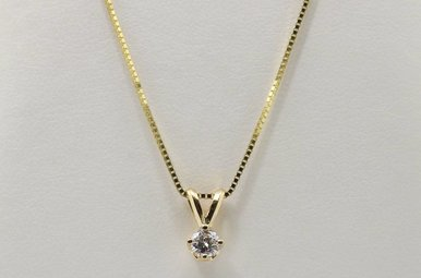 14ky 1/5ct Round Brilliant Diamond Solitaire Pendant