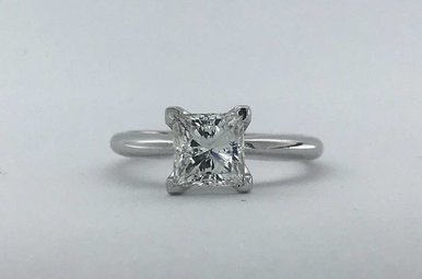 14k White Gold 1.51ct G/SI2 Princess Cut Diamond Solitaire