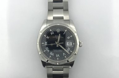 Rolex Stainless Oyster Perpetual Date 34mm Blck Roman Numeral Dial