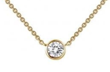 Lafonn Sterling Silver .46cttw 1 Stone Yellow Bezel Station Necklace