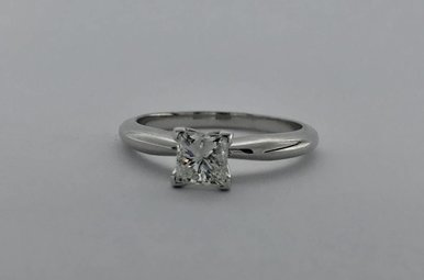 14k White Gold 0.74ct H/SI2 Princess Cut Dia Solitaire Engagement Ring