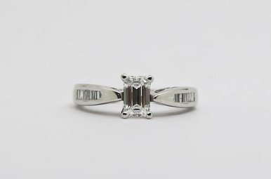14kw .78ct-Ctr G/SI1 1ctw Engagement Ring with Emerald Cut Center & Baguette Diamonds