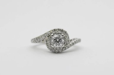 14kw .43ct-Ctr E/I1 .78ctw Round Brilliant Diamond Bypass Engagement Ring