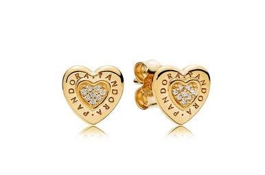 PANDORA Shine Stud Earrings, Signature Heart, Clear CZ