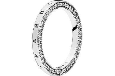 PANDORA Ring, Signature Hearts, Clear CZ - Size 56