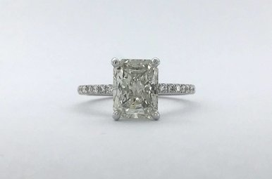 18k White Gold 2.27ctw (2.01ct H/SI2 Radiant) Diamond Hidden Halo Engagment Ring (Size 6)