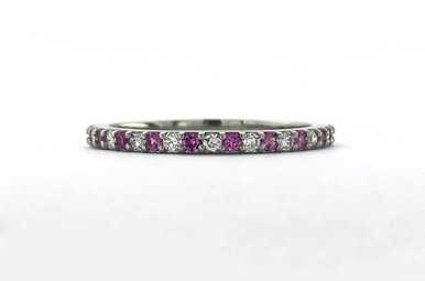 14k White Gold .17ctw Diamond .18ctw Pink Sapphire Stackable Wedding Band Ring (Size 6)