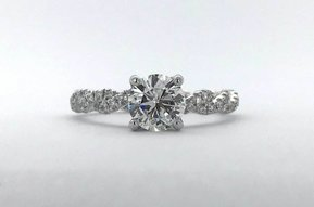 14k White Gold 1.47ctw (.96ct F/SI1 GIA Round) Diamond Twisted Engagement Ring (Size 6)