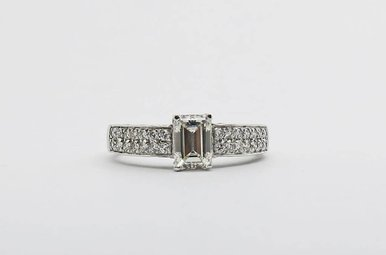 18kw/Plat .95ct-Ctr I/VS1-GIA 1.25ctw Emerald Cut & Round Brilliant Diamond Engagement Ring