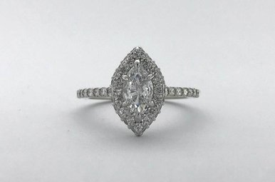 14k White Gold 1.13ctw (.53ct F/SI2 Marquise) Seamless Double Edge Halo Engagement Ring (Size 6)