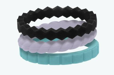 QALO Silicone Stackable Ring Set Collection C (Size 7)
