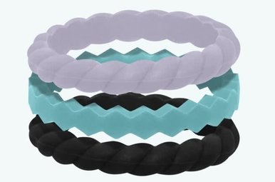 QALO Silicone Stackable Ring Set Collection A (Size 6)