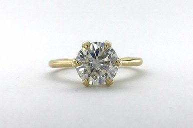 14k Yellow Gold 8mm (2ct E/F-VVS) Round Hearts & Arrows Moissanite Alternative 6 Prong Solitaire Engagement Ring (Size 6)