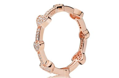 PANDORA Rose Ring, Alluring Hearts, Clear CZ - Size 52