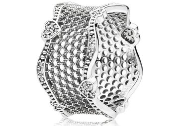 PANDORA Ring, Lace of Love, Clear CZ - Size 62