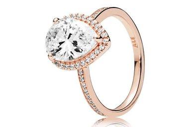 PANDORA Rose Ring, Radiant Teardrop, Clear CZ - Size 56