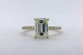 18k Yellow Gold 2.28ctw (2.02ct J/SI2 GIA Emerald) Diamond Hidden Halo Solitaire Engagement Ring (Size 6)