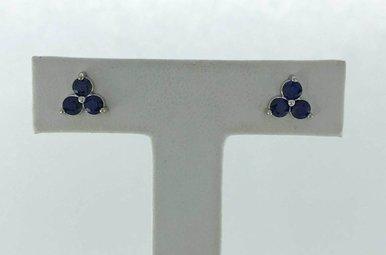14k White Gold 0.66ctw Sapphire Trio Studs Earrings