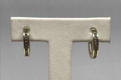 14k Yellow Gold 1/4ctw Diamond Channel Hoop Earrings