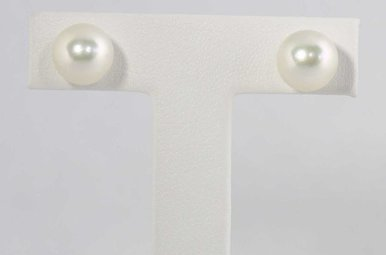 14ky 7.5-8mm Akoya Pearl Stud Earrings