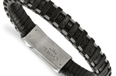 Gents Bracelet Stainless Steel Brushed Cable and Black Leather Bracelet