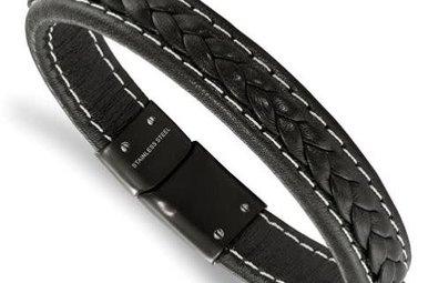Gents Bracelet Stainless Steel Black IP-Plated Genuine Black Leather