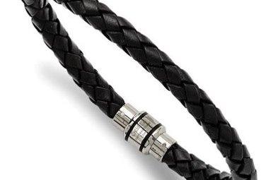 Gents Bracelet Stainless Steel Polished Black Braided Genuine Leather