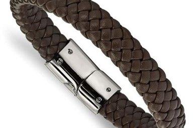 Gents Bracelet Stainless Steel Braided Brown Genuine Leather