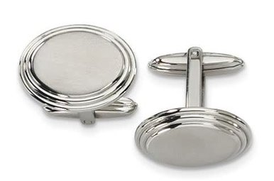 Cuff Links Stainless Steel Circular Brushed and  Polished Beveled