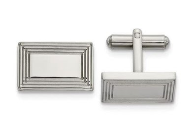 Cuff Links Stainless Steel Polished Rectangular