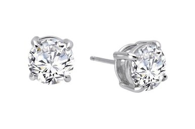 Lafonn Round Stud Earrings Simulated Diamonds 4ctw, Sterling Silver