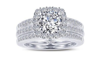 Lafonn Halo Wedding Set, Simulated Diamonds 2.5ctw, Sterling Silver