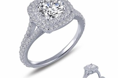 Lafonn Double Halo Engagement Ring, Simulated Diamonds 2.14ctw, Sterling Silver