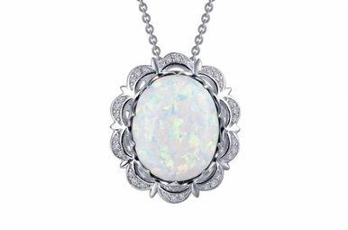 "Lafonn Pendant, Simulated Diamonds & Opal 7.3ctw, Sterling Silver 18"""