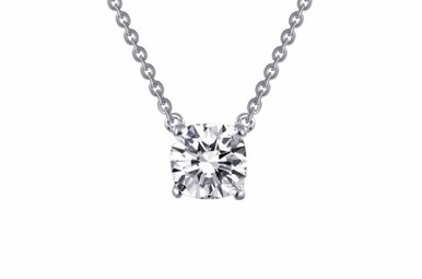 Lafonn Cushion Solitaire Necklace, Simulated Diamond .99ct, Sterling Silver