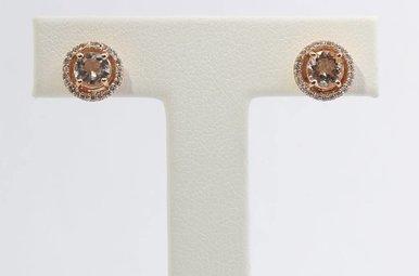 10kr .17ctw-Dia Morganite & Diamond Halo Stud Earrings