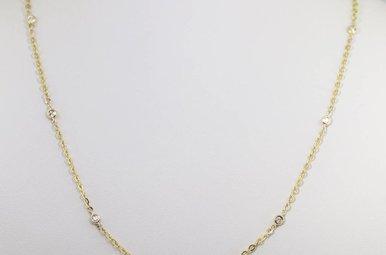 14ky .18ctw Round Brilliant Diamond Ladies Bezel Station Necklace