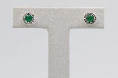 14kw .10ctw-Dia .38ctw-Em Emerald & Diamond Halo Stud Earrings
