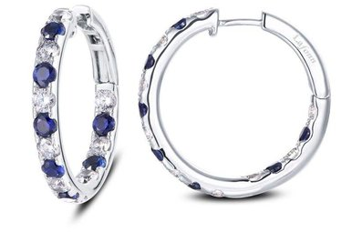 Lafonn Hoop Earrings, Simulated Diamonds & Lab Sapphires 3.52ctw, Sterling Silver