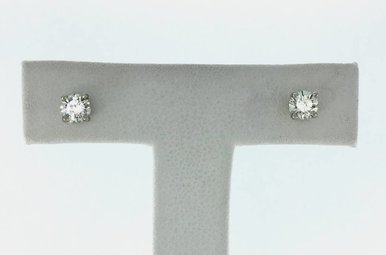 14k Gold (V) 1/2ctw Round Brilliant Diamond Stud Earrings