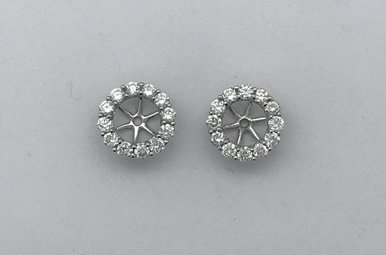 14k White Gold .50ctw Diamond Halo Earring Jackets Stud Enhancers