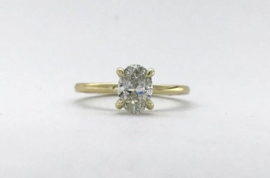 14k Yellow Gold Oval 1.00ct H/SI2 GIA Diamond 4 Prong Solitarie Engagement Ring (Size 7)