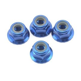 Traxxas 4mm Blue Aluminum Flanged Locking Serrated Nuts (4)