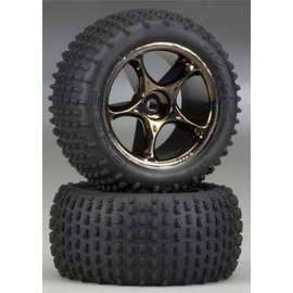 Traxxas 2.2 Alias Tires W/Tracer Black Chrome Wheels Bandit Rear (2)