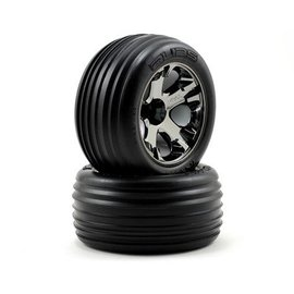Traxxas 2.8 Alias Ribbed tires on All Star black chrome wheels (2)