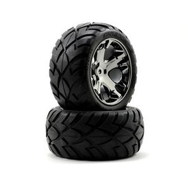 Traxxas Anaconda tires & All Star black chrome wheels, assembled, glued (with foam inserts) (electric rear) (1 left, 1 right)