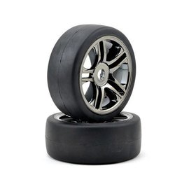 Traxxas S1 Slick Front Tires on Split-spoke Black Chrome Wheels XO-1(2)