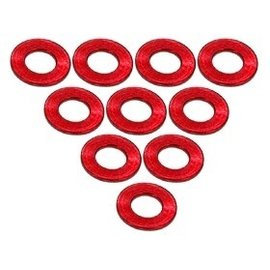 3-Racing 3RAC-WF305RE Red Aluminum M3 Flat Washer 0.5mm (10)